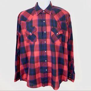 1878 Ely Cattleman Men's shirt plaid red black XL